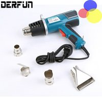 Wholesale Electric Hot Air Gun - 2000W 220V EU Plug Industrial Electric Hot Air Gun Thermoregulator Heat Car Sitkcer Install Guns Shrink Wrapping Thermal Heater Nozzle