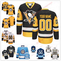 Wholesale youth hockey jersey xl - Stitched Custom Pittsburgh Penguins Hockey mens womens youth Black OLD BRAND Third Gold Yellow White Blue Navy Winter Classic Jerseys S-4XL