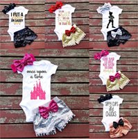 Girl newborn girls baby clothing - Baby Girls Outfits Letter Infant Rompers Sets Newborn Clothing Sets Kids triangle jumpsuit paillette shorts bow Hair band set C1524