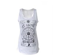 Wholesale Loose Tanks For Girls - Yoga T-shirt for Women Crew neck Moon constellations pattern loose sports Vest Girls Casual tank top