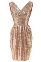 Wholesale pictures bling wedding dress resale online - Gold Sequins Short Bridesmaid Dresses V Neck Ruffle Knee Length Bling Formal Occasion Dress Cheap Bridesmaids Wedding Party Gown
