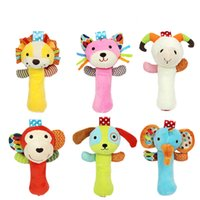 Wholesale educational toys for toddlers - Wholesale- 6Style 12*20cm Animal Baby Rattles Handbell Educational Toys Cute Elephant Lion Cat For Toddlers Baby Soft Plush Toy Baby Toys