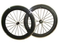 Wholesale Carbon Alloy Rims Wheelset Clincher - New! 700C 80mm clincher rim Road bike 23mm Width 3K carbon bicycle wheelset with alloy brake surface carbon wheels Free Shipping