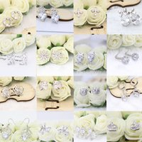 Wholesale Earrings Bowknot - 24 Pair Mix Hot 925 Silver Stud Earrings Owl Bowknot Flower Cubic Zirconia Silver Earrings Jewelry For Women Party Prom Anniversary
