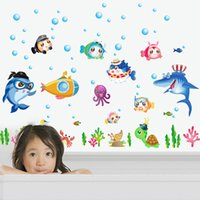 Stickers muraux Cute Cartoon Animal Underwater World Sticker en vinyle Sticker en PVC coloré Décalé Kid Baby Room Hot Sell 2 5jz J R