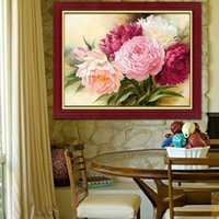 Wholesale new embroidery diy d diamond painting peony flowers cross stitch round diamond kits diamond mosaic house decoration