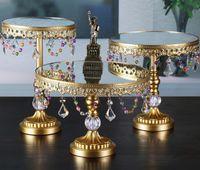 Wholesale Mirror Trays - Free shipping Mirror iron art cake holder   cake plate   fruit plate   West Point tray, wedding decoration LLFA