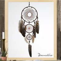 Wholesale Large Hanging Ornaments - 80cm Large Dreamcatcher with 5 Circles Feather Eagle Wall Hanging Decoration Home Decor Ornament Handmade Dream Catcher