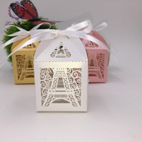 Wholesale Wholesale Eiffel Tower Party Favors - Wholesale- 50pcs wedding favors and gifts for guests decoration party supplies laser Eiffel Tower romantic paris candy chocolate box decor
