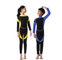 yüzme neopren kıyafeti toptan satış-3 renkler kaliteli toptan çocuk boys tam wetsuit neopren mayo yüzmek yemin uzun kollu ve bacaklar anti-uv tek parça dalış elbise 2-14Y