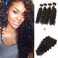 Wholesale raw weft - Brazilian Deep Curly Virgin Hair 4 Bundles With Lace Closure Color 1B Black Peruvian Malaysian Mongolian Raw Indian Curly Human Hair Weft