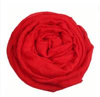 bufandas de color liso al por mayor-Venta al por mayor barato liso color de algodón lino mujeres viscosa bufanda / línea de color sólido de alta calidad bufandas por mayor