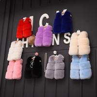 Wholesale kids white fur coat - Girls Fur Coat Waitscoat Outerwear 2017 New Autumn Winter Sleeveless Warm Fashion Cardigan Coat Kids Vest Outerwear