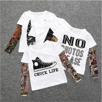 Wholesale Autumn Tattoos - Baby Clothes Boys Hip Hop Tattoo T-shirts Baby Ins Long Sleeve Tops Fashion Printed Tees Cotton Sashimi Shirt Casual Streetwear Tees B3441