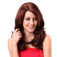 peluca rizada vino al por mayor-Pelucas químicas largas de la fibra Pelo rojo largo del pelo rizado de la moda Pelo falso