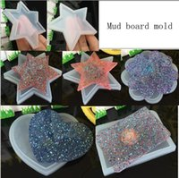 Wholesale Pottery Molds - 5 Styles Soft pottery base Mud board mold Silicone Mould DIY Resin Decorative Craft Jewelry Making Mold resin molds for jewelry