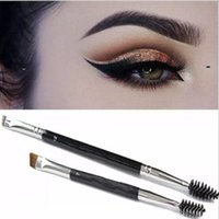 Wholesale brow bag - 2017 newest Makeup Eye Brow Eyebrow Brush Synthetic Duo Makeup Brushes Double Eyebrow Brush Head Brushes Kit opp bag