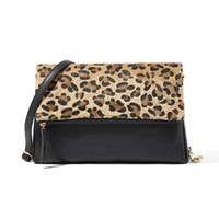 Wholesale Leopard Hair Clutch - Wholesale- Charming Leopard Evening Bags Horse Hair Women Clutch Bag High Quality Leather Party Bag Designer Shoulder Bag