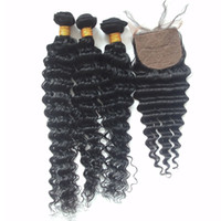 Wholesale silk closure hair weft resale online - Human Hair Bundles With Silk Base Closure Deep Wave A Grade Unprocessed Malaysian Virgin Hair Weaves With Silk Lace Closure inch