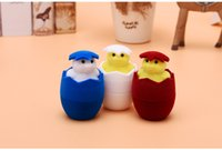 [Simple Seven] Cute Duck Egg Rings Display Plástico Flocado Amor Caixa de jóias Earring Ear Stud Case Gift Container
