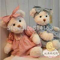 Wholesale Lovely Couple Teddy Bear - Wholesale- 28cm 2pcs pair lovely couple teddy bear with cloth plush toy stuffed teddy bear dolls girls birthday gift free shipping