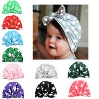 neugeborene hüte ohren großhandel-Modische und niedlichen stil Star Print Neugeborenen Hut Kaninchen Ohr Geformte Bowknot Blume Hut Weichen Indischen Hut für Baby Mädchen 1 #