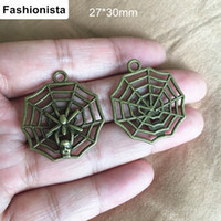 Charms spider web crafts - 50 Antique Bronze Spider Skull Charm Pendant mm Metal Spider Web Charms DIY Craft Findings