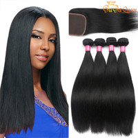Wholesale Cheap 28 Inch Weave - Brazilian Straight Hair Bundles With 4x4 Closure Unprocessed Brazilian virgin Hair Straight With Lace Closure Cheap Human Hair Extensions