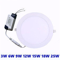 panel led ultra delgado al por mayor-Luz de techo empotrada LED ultra delgada de 3W 6W 9W 12W 15W 18W 18W 25W LED empotrada en el techo AC85-265V