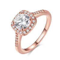 Barato Vendendo Joalharia De Ouro 18k-Mais vendidos 18K Rose Gold Plated Rings Jóias Cristais completos de CZ Ajustar Big Zircon Crystal Rings 3 Colors