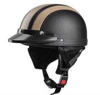 Wholesale Half Helmet Goggles - Vintage Motorcycle Helmet Men Women Bike Bicycle Helmet Motorcycle Motor Open Face Half Helmet + Visor + Protective Goggles