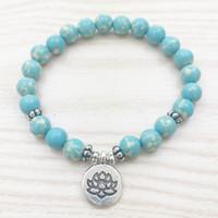 ingrosso blu di jasper-SN1026 Designer Aqua Jasper Bracciale Lotus Charm Bracciale Blue Bracelet Healing Bracciale Women Bracelet Girl Bracelet Dainty Everyday
