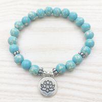 Wholesale Dainty Bracelets - SN1026 Designer Aqua Jasper Bracelet Lotus Charm Bracelet Blue Bracelet Healing Bracelet Women Bracelet Girl Bracelet Dainty Everyday
