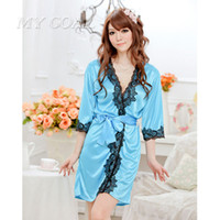 Wholesale Trendy Sexy Dresses Wholesale - Wholesale- Women Lace Bathrobe Sexy Lingerie Sleepwear Dress Nightdress Nightgown Bath Robes Gown Amazing for women summer fall Trendy Hot