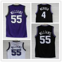 Wholesale Retro Clothes - High quality Men's #55 Jason Williams Jersey #4 Chris Webber Basketball Clothing 100% Stitched Retro shirt free shipping Accept Mix Order