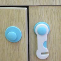 ingrosso coperture della porta-10 pezzi 1 set baby lock lock Todder Child Kids Door Drawers Armadio Cabinet Sicurezza Cura proteggere la plastica Lock Pink Blue Cover