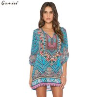 Wholesale Dress Baroque Women - Wholesale- Gamiss 2016 Spring Summer Women Vintage Ethnic Dress Brand Baroque Style Floral Print Casual Beach Dress Boho Hippie Vestido
