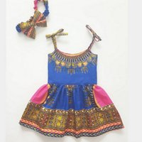 Wholesale Girls Ethnic Dresses - Baby Girls Dress New 2017 Ethnic Style Bow Suspender Princess Dresses Europe Toddler Princess Dress Cute Kids Dress C1031