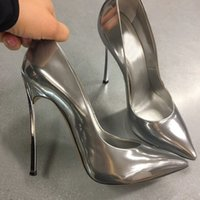 grey silver high heels NZ - Plus Size 43 Designer Shoes Woman Patent Leather Ladies Pumps Slip On Blade Stiletto High Heels Office Party Wedding Shoes Gold Silver Black
