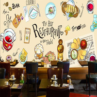 Wholesale Back Roll Painting - Free Shipping 3D Stereo Custom Hand Painted Restaurant Food Background Living Room Bedroom Mural Lobby Office Decoration Wallpaper