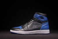 Wholesale Men Winter Fur Shoes - Wholesale new air retro 1 I OG Royal blue black MEN basketball shoes sports sneakers trainers high top quality size 7-13
