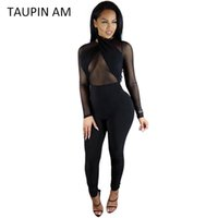 Wholesale Transparent Women S Wears - Wholesale- TAUPIN AM Sexy black jumpsuit women Halter transparent mesh bodycon bandage jumpsuit long sleeve rompers back zipper club wear