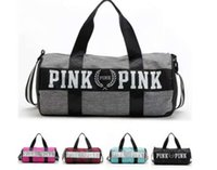 Wholesale Women Handbags VS Pink Large Capacity Travel Duffle Striped Waterproof Beach Bag Shoulder Bag G075