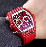 Super Clone Luxury Limited Edition FM Vanguard Backswing Хронограф Силиконовый антишок-шок Golf Red Bezel Sport Мужские часы Red Rubber FM85D