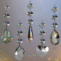 Wholesale Beads Connectors Silver - 5pcs Crystal Chandelier Lamp Prisms Part Hanging Glass Teardrop Pendants with Octagon Beads Silver Jump Rings Connector