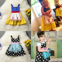 Mignonne fille cosplay France-Filles Cendrillon Cosplay Dress Suspender Dot Robes Kids Snow White Costumes Robe avec Tablier Mignon 2 Couleurs