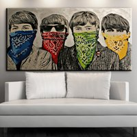 Wholesale modern oil portraits - ZZ1613 modern abstract portrait canvas art graffiti banksy canvas oil art painting for livingroom bedroom decoration unframed