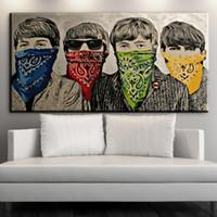 schlafzimmer malerei porträts großhandel-ZZ1613 moderne abstrakte porträt leinwand kunst graffiti banksy leinwand ölgemälde für wohnzimmer schlafzimmer dekoration ungerahmt
