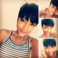 Wholesale Short Chic Wigs - Chic Cut Brazilian short human hair wigs straight best human hair natural looking african american cheap remy wigs for black women