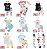 Wholesale baby clothes wholesale - INS Xmas Deer Baby Girls Gold Letter Arrow T shirt Pants Bow Headbands Children Set Boutique Kids Girls Clothing Set Free Ship